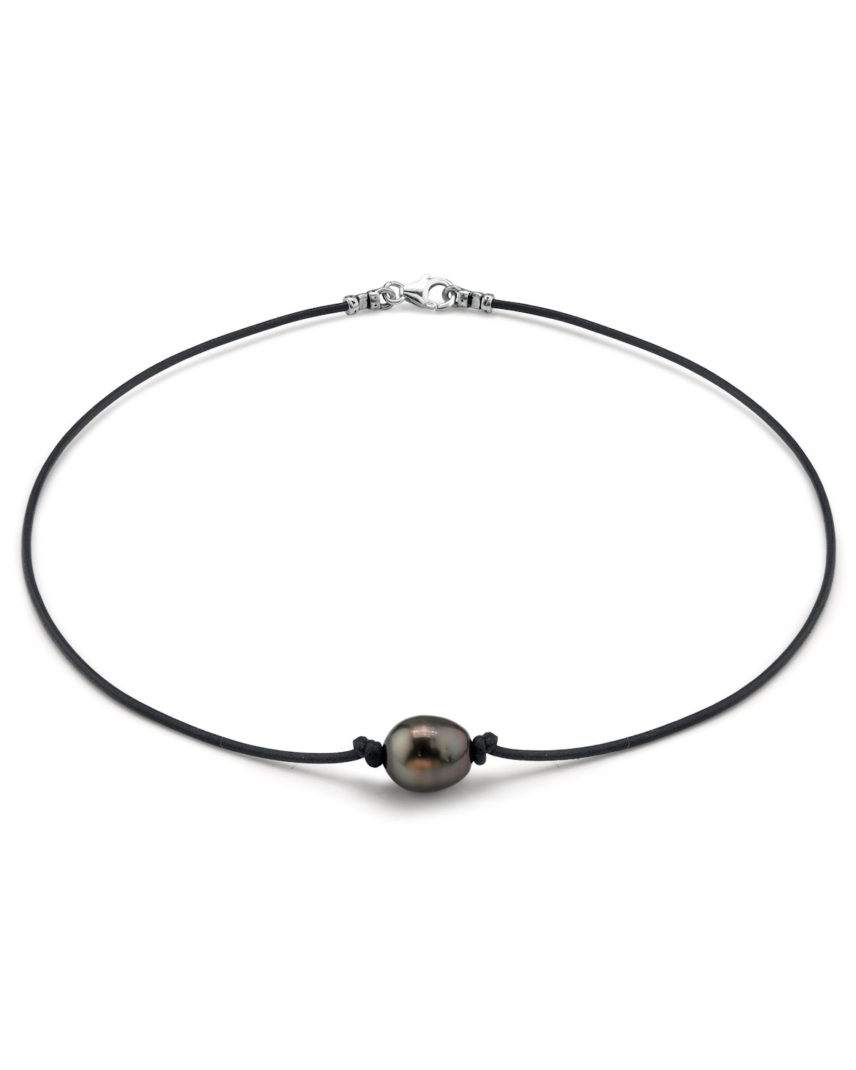 Tahitian Pearl And Leather Necklace: Tahitian Baroque Pearl Leather Necklace- Various Sizes
