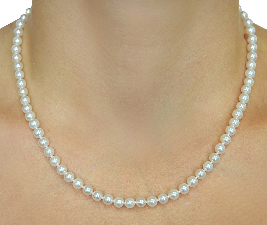 Pearl Necklace Akoya: 5.0-5.5mm Japanese Akoya White Pearl Necklace- AA+ Quality