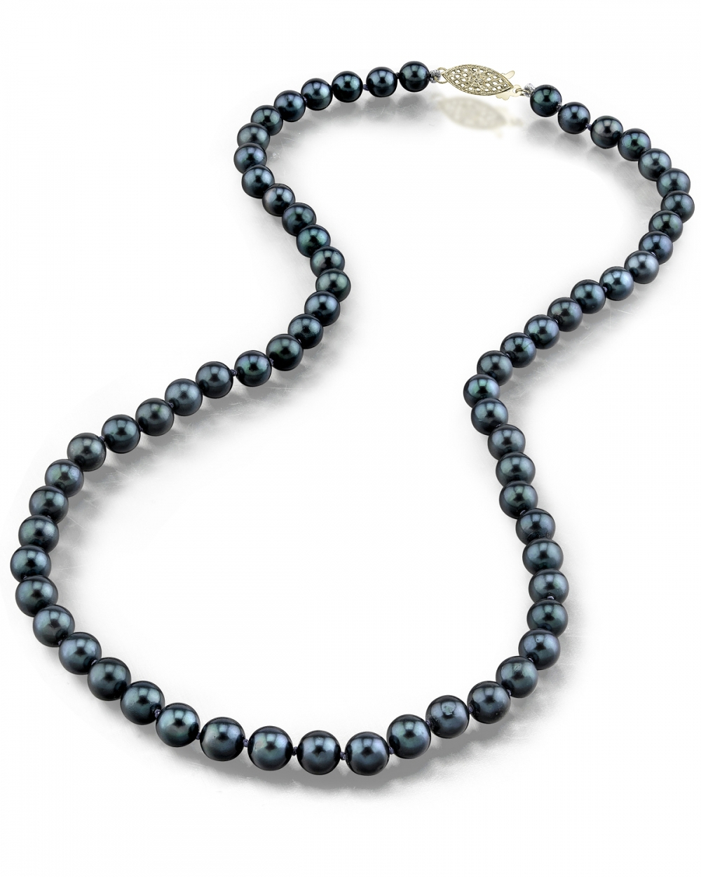 Pearl Necklace Akoya: 14K Gold 5.5-6.0mm Japanese Akoya Black Cultured Pearl