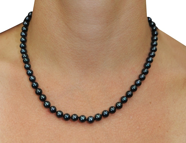 6 0 japanese akoya black pearl necklace aaa quality. Black Bedroom Furniture Sets. Home Design Ideas