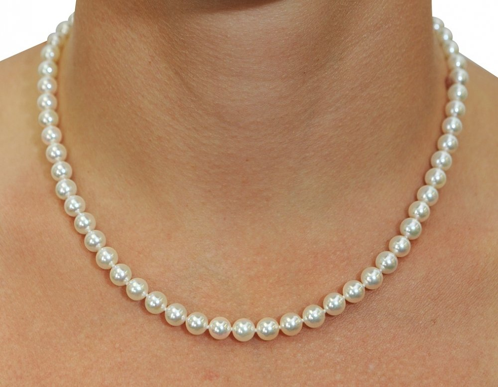 6 0 6 5mm Japanese Akoya White Pearl Necklace Aaa Quality