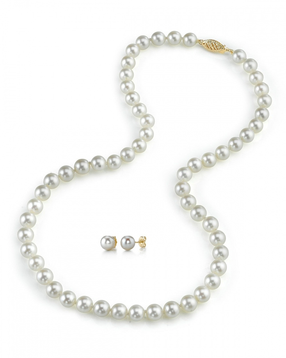 7.5-8.0mm Japanese White Akoya Pearl Necklace & Earrings ...