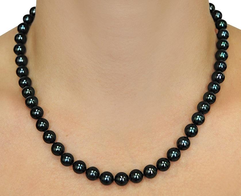 buy 8 0 japanese akoya black pearl necklace aaa. Black Bedroom Furniture Sets. Home Design Ideas