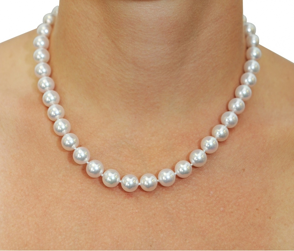 Pearl Necklace Akoya: 9.5-10mm Japanese Akoya White Pearl Necklace- AA+ Quality