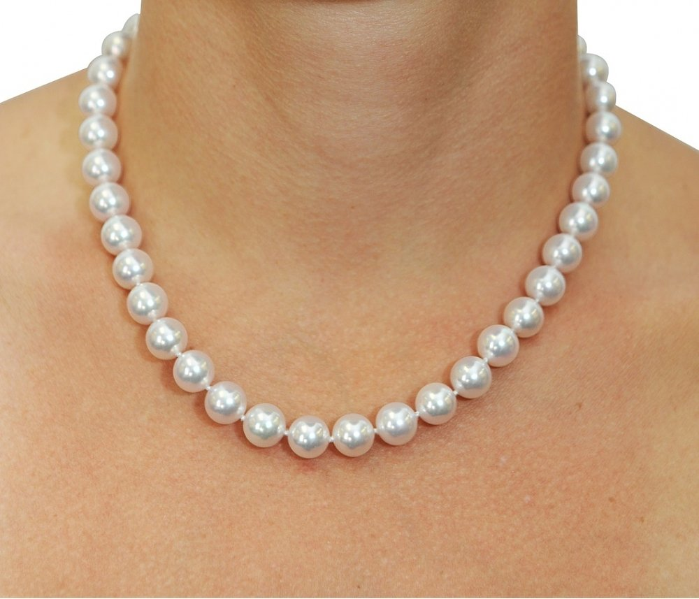 Necklace With A Pearl: White Akoya Pearl Necklaces
