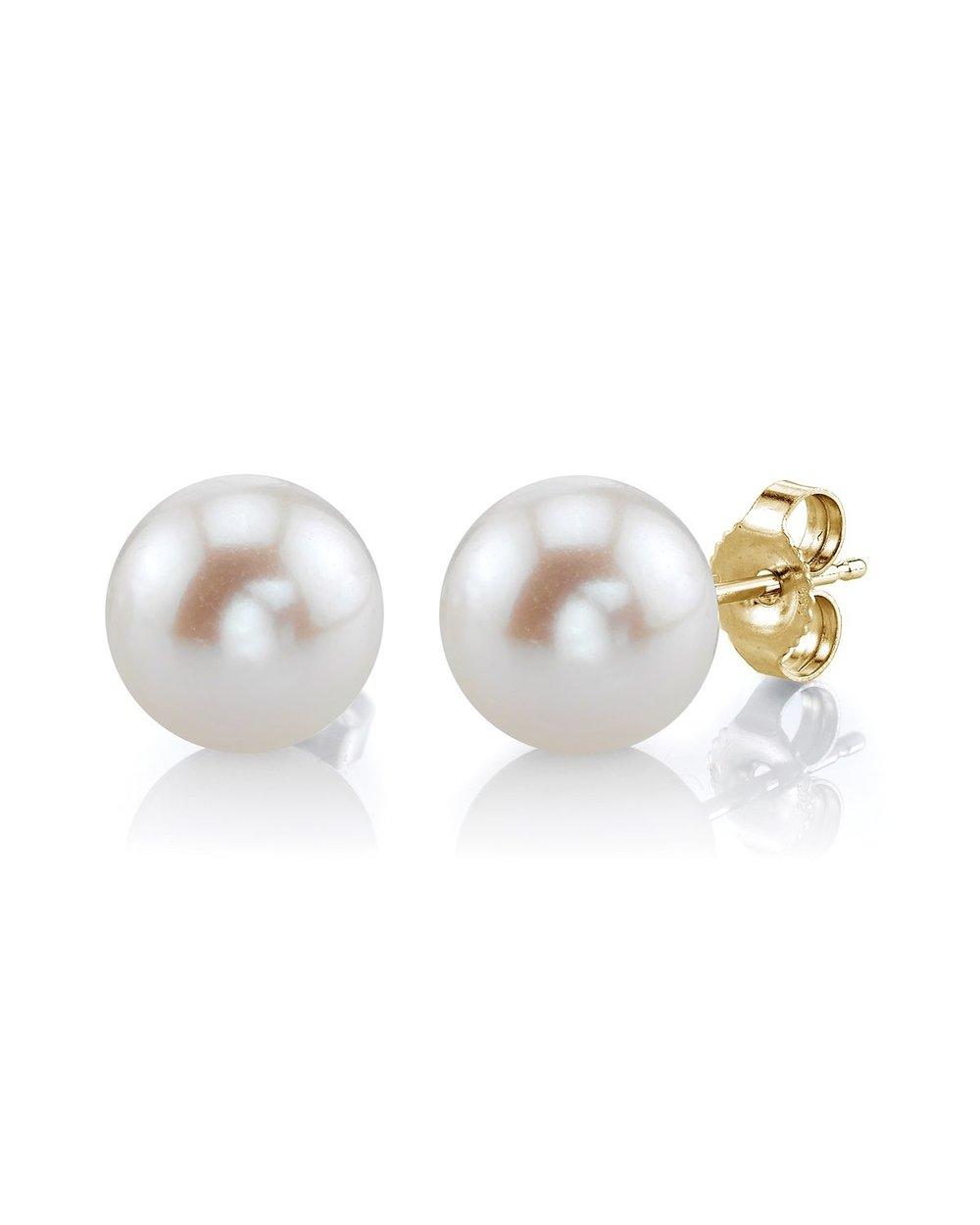7mm white freshwater pearl stud earrings