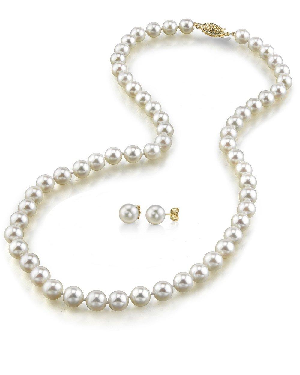 7 8mm freshwater pearl necklace earrings