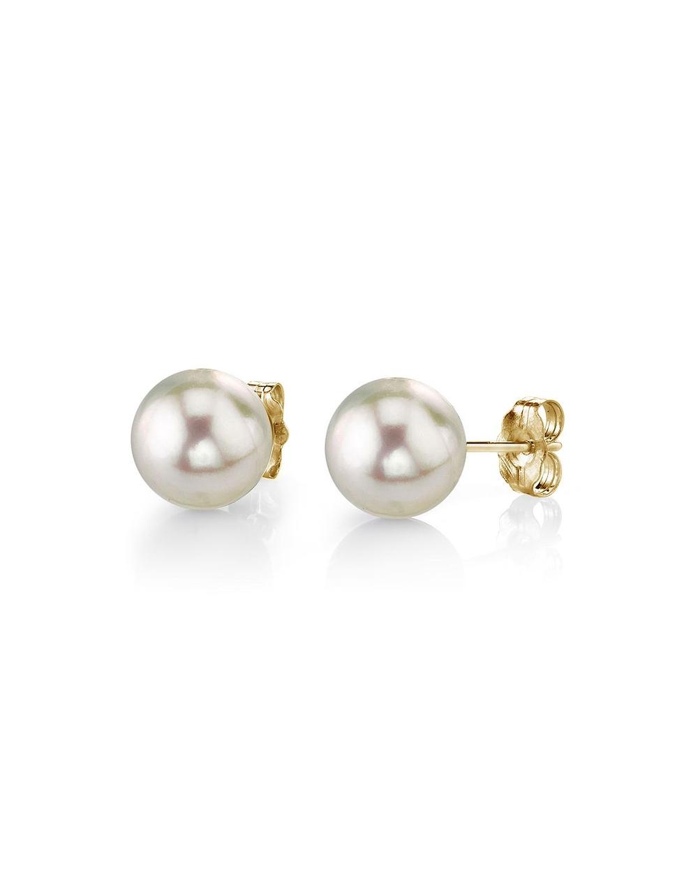 5 0 5 5mm white akoya pearl stud earrings
