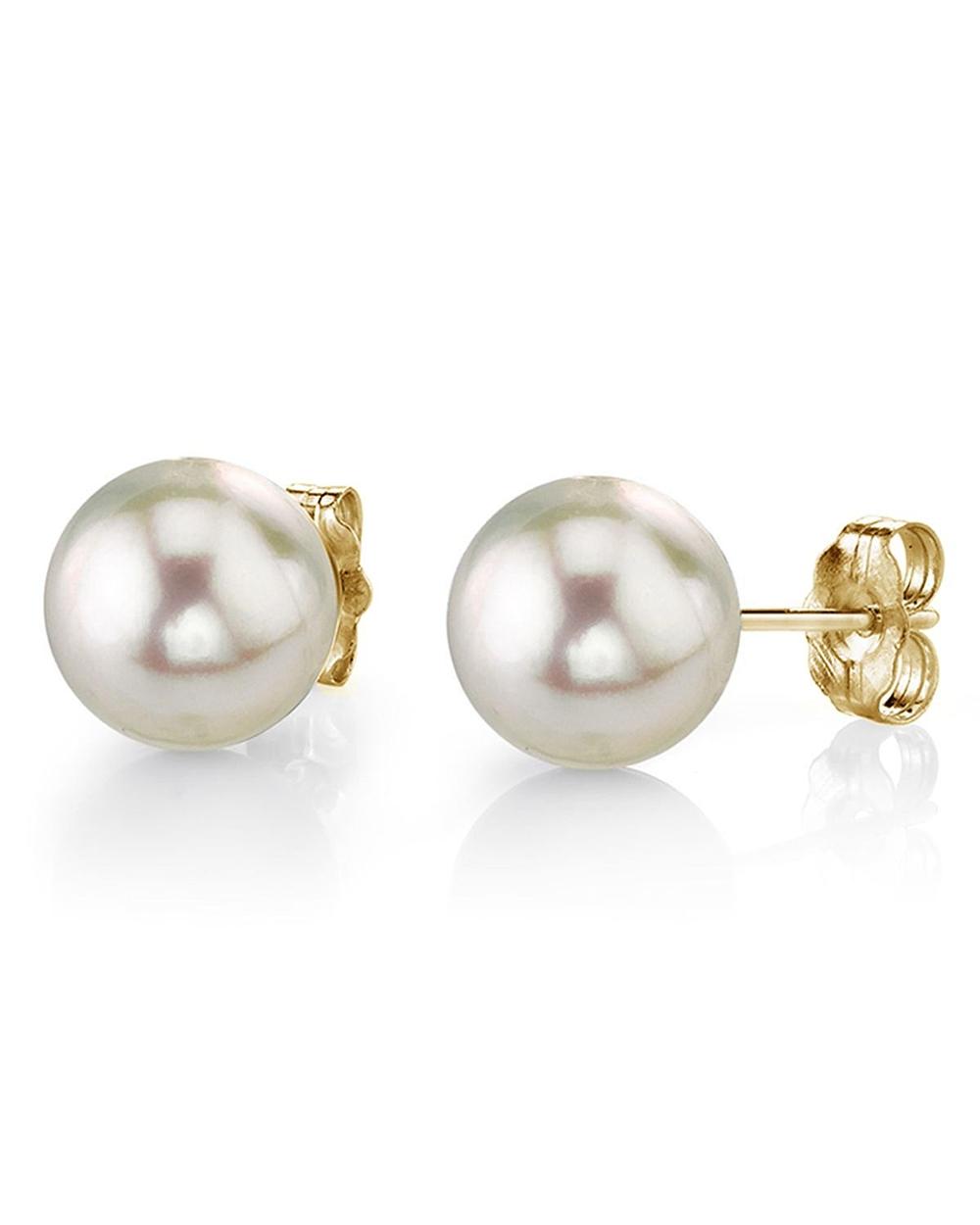 9 0 5mm White Akoya Pearl Stud Earrings
