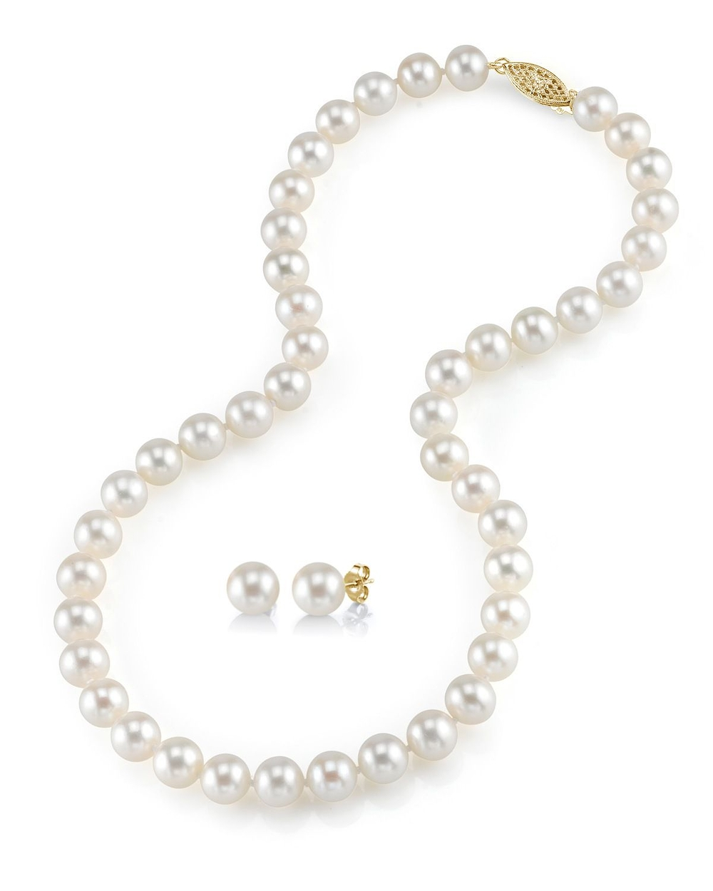 Necklace With A Pearl: 7-8mm Freshwater Pearl Necklace & Earrings