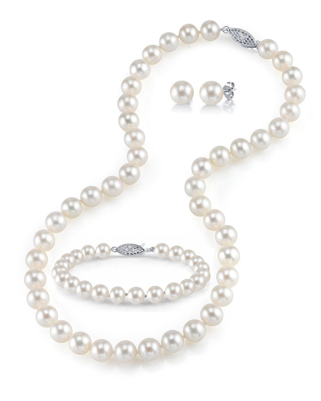 8738aa4c9 8-9mm Freshwater Pearl Necklace, Bracelet & Earring Set