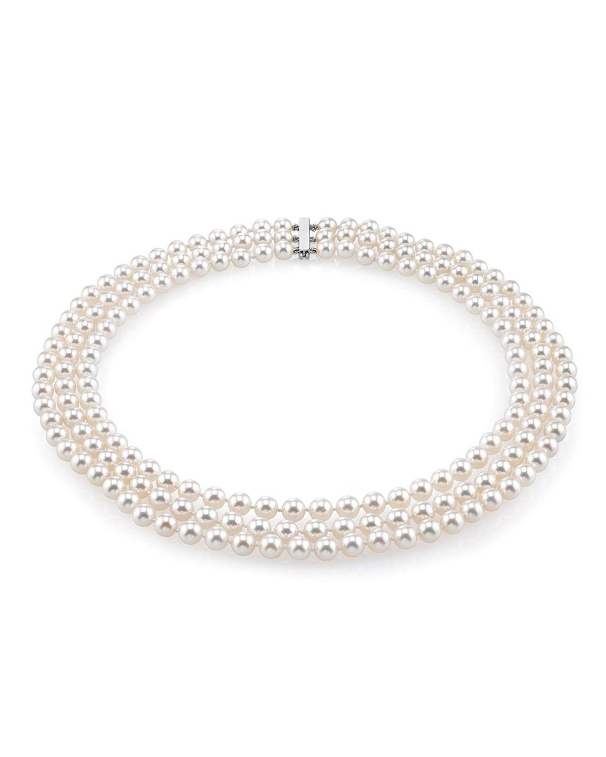 ea68922fd75e7 Triple Strand White Freshwater Pearl Necklace