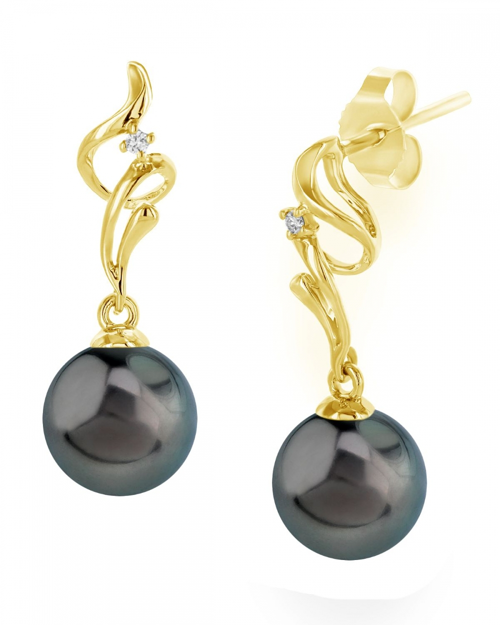 Tahitian South Sea Pearl Amp Diamond Aria Earrings