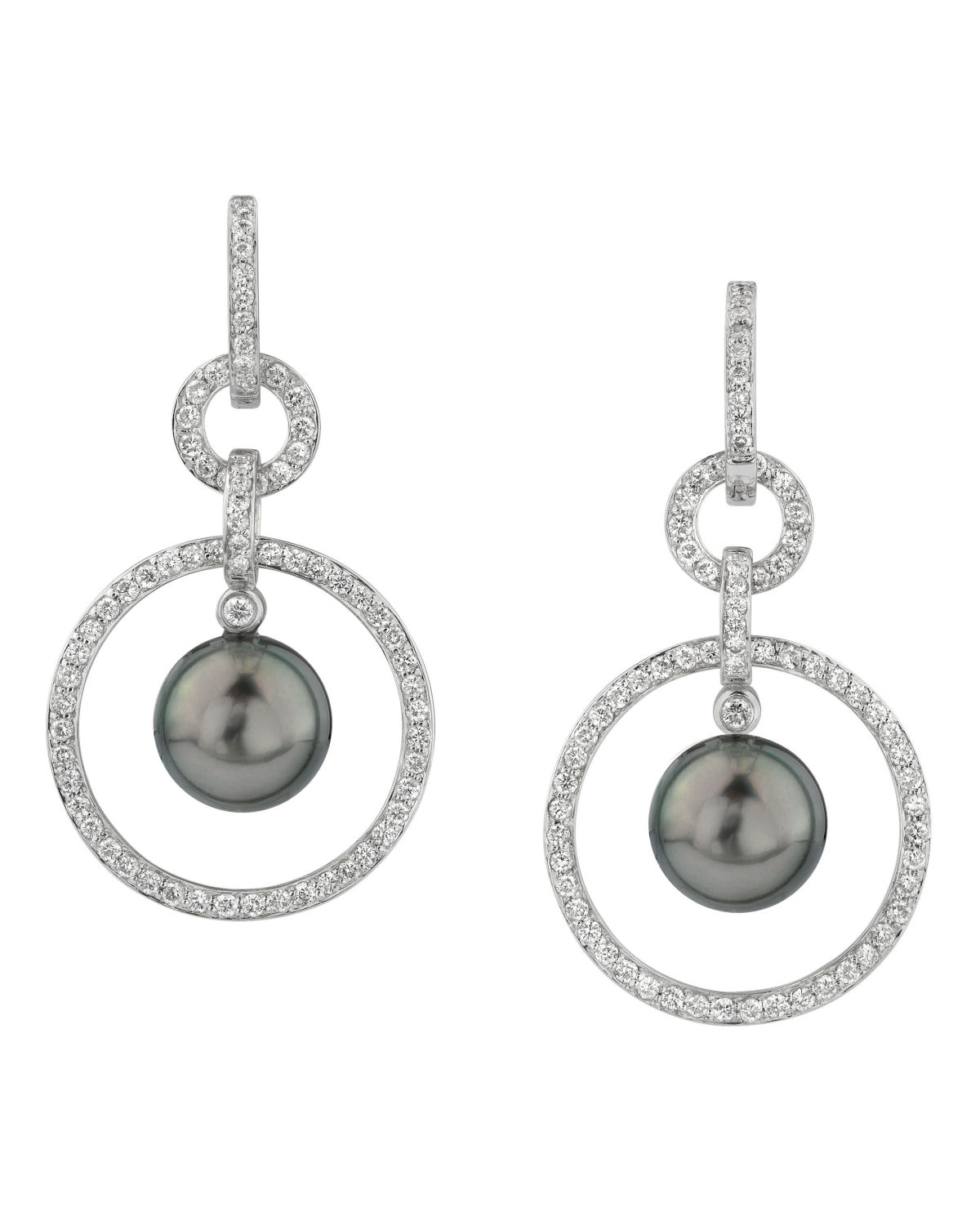 Buy Tahitian South Sea Pearl and Diamond Hoop Earrings for ...
