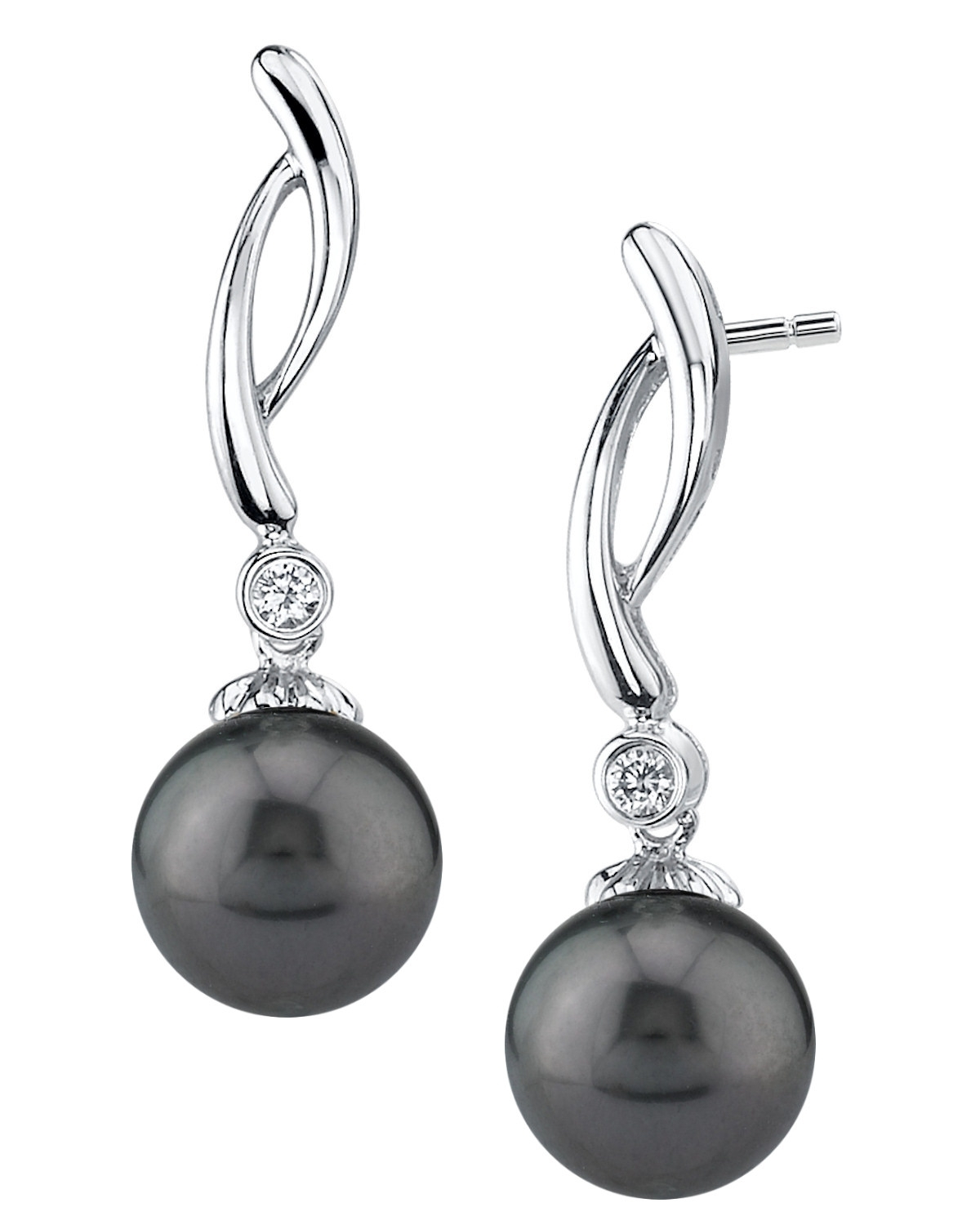 Tahitian South Sea Pearl & Diamond Madison Earrings | The ...