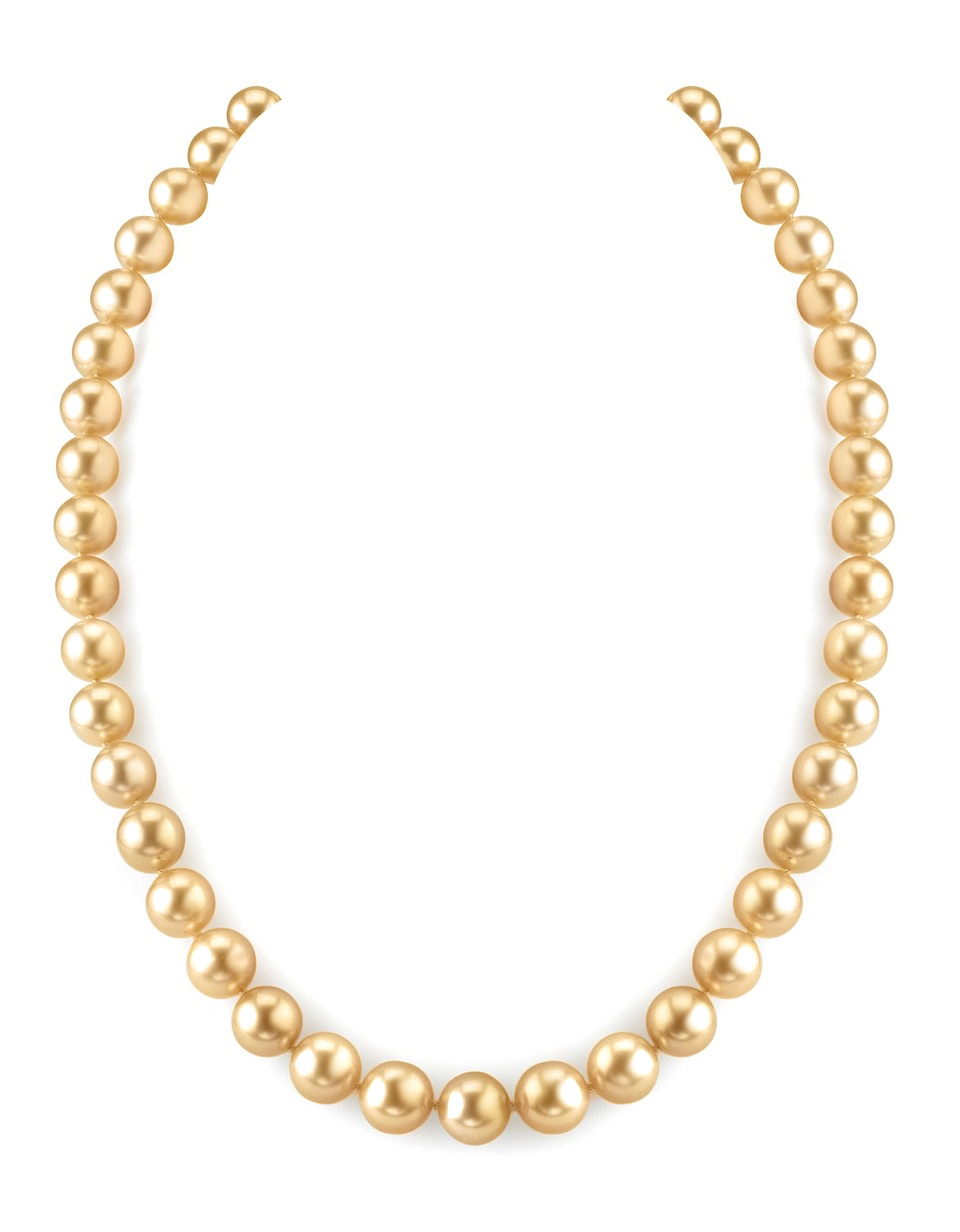 8-10mm Golden South Sea Pearl Necklace - AAAA Quality