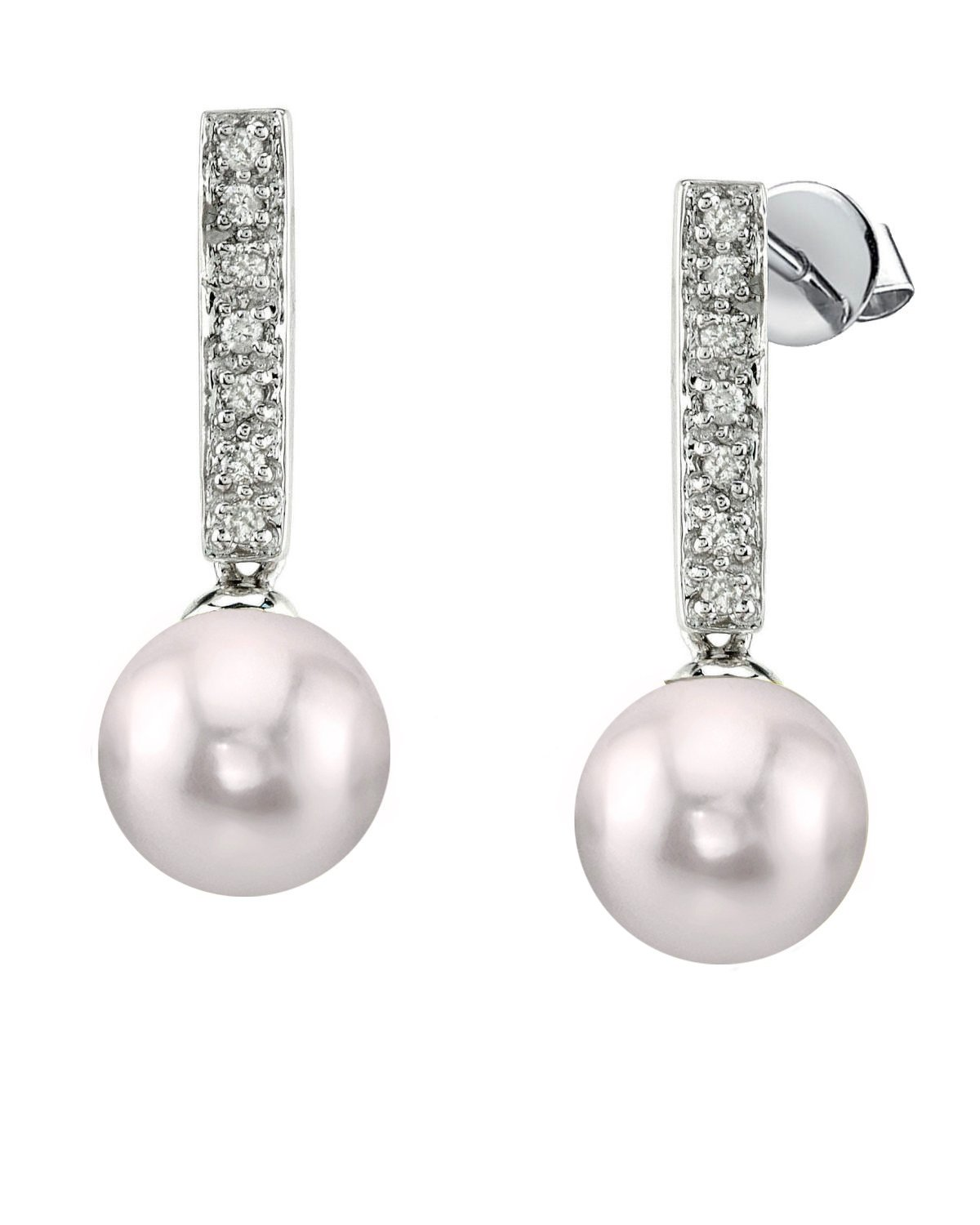 Akoya Pearl Dangling Diamond Earrings- Choose Your Pearl Color
