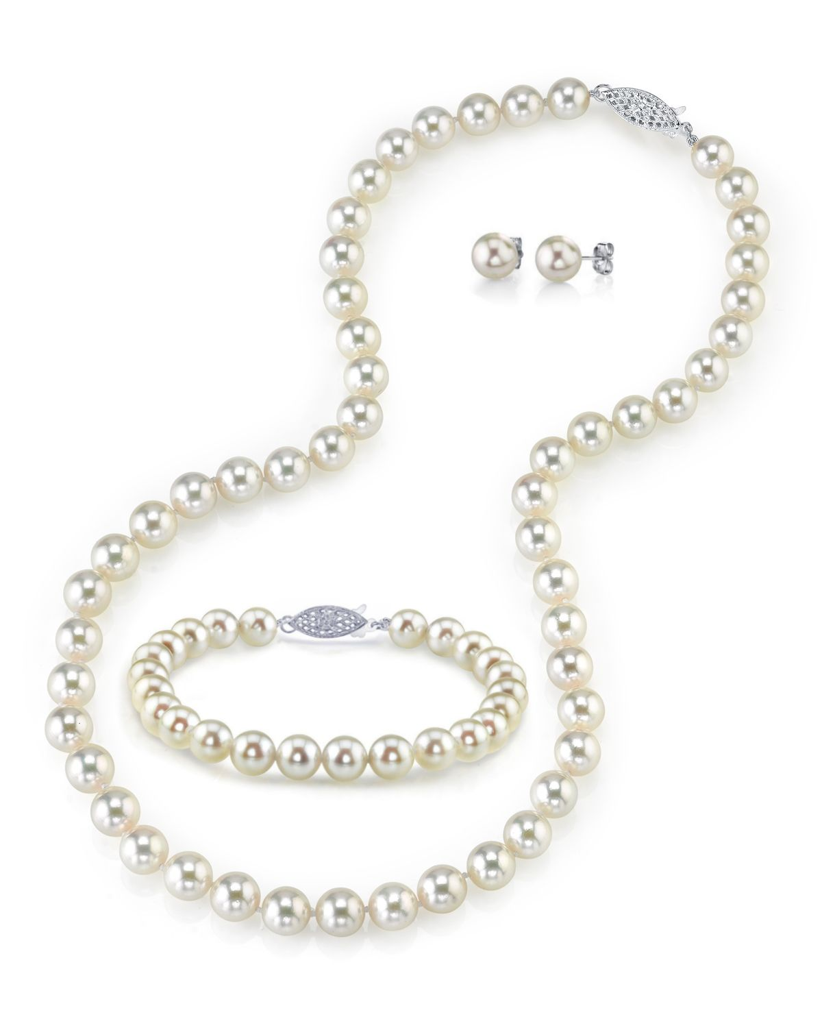 5.5-6.0mm Japanese Akoya White Pearl Set