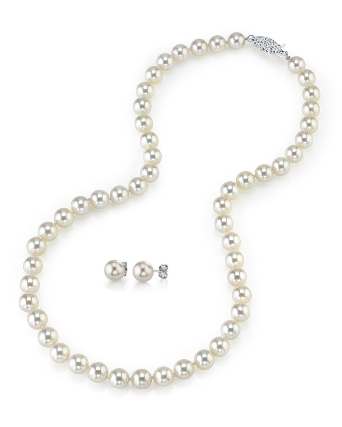 6.5-7.0mm Japanese Akoya Pearl Necklace & Earrings