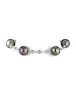 White Gold Tincup Bracelet with 10-11mm Multicolor Tahitian Pearls