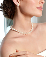 10-11mm White Freshwater Pearl Necklace - Model Image