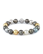 10-11mm Tahitian & Golden South Sea Pearl Bracelet - AAAA Quality
