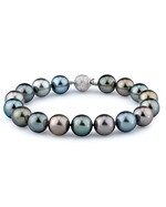 10-11mm Tahitian South Sea Multicolor Pearl Bracelet - AAAA Quality