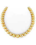 CERTIFIED 10-12mm Golden South Sea Pearl Necklace - AAAA Quality