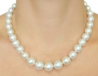 10-12mm White South Sea Pearl Necklace - AAAA Quality - Model Image