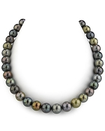 CERTIFIED 10-11mm Tahitian Multicolor Pearl Necklace - AAAA Quality