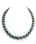 10-12mm Tahtian South Sea Peacock Pearl & Diamond Rondelle Necklace-54