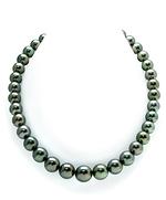 10-12mm Tahtian South Sea Peacock Pearl & Diamond Rondelle Necklace-54