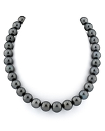 10-12mm Black Tahitian Pearl Necklace- AAAA Quality