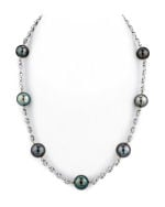 10-11mm Tahitian South Sea Multicolor Pearl Tincup Necklace