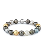 11-12mm Tahitian & Golden South Sea Pearl Bracelet - AAAA Quality
