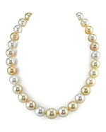 10-13mm Golden & White South Sea Multicolor Pearl Necklace - AAAA Quality