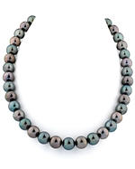 11-13mm Tahitian Two-Tone Multicolor Pearl Necklace with Polished Diamond Clasp