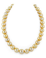 CERTIFIED 11-14mm Golden South Sea Pearl Necklace - AAAA Quality