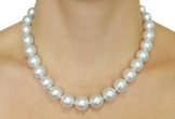 11-14mm White South Sea Pearl Necklace - Model Image