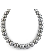 CERTIFIED 11-14mm Silver Tahitian South Sea Pearl Necklace - AAAA Quality