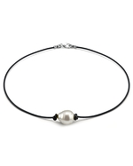 Australian Baroque Pearl Leather Necklace- Various Sizes