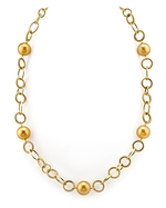 11mm Golden Pearl Designer Necklace
