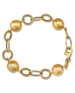 11mm Golden Pearl Designer Bracelet