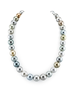 CERTIFIED 12-14.6mm Tahitian South Sea Pearl Multicolor Necklace