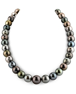 12-14mm Ultimate Tahitian South Sea Multicolor Pearl Necklace - AAAA Quality