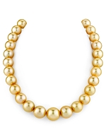 CERTIFIED 12-14mm Golden South Sea Pearl Necklace - AAAA Quality
