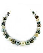 12-14mm CERTIFIED South Sea Multicolor Pearl Necklace - AAAA Quality