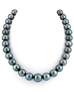 12-15mm Dark Green Tahitian South Sea Pearl Necklace