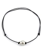 South Sea Baroque Pearl Leather Adjustable Necklace - Various Sizes