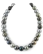 CERTIFIED 13-14mm Tahitian Multicolor Pearl Necklace - AAAA Quality